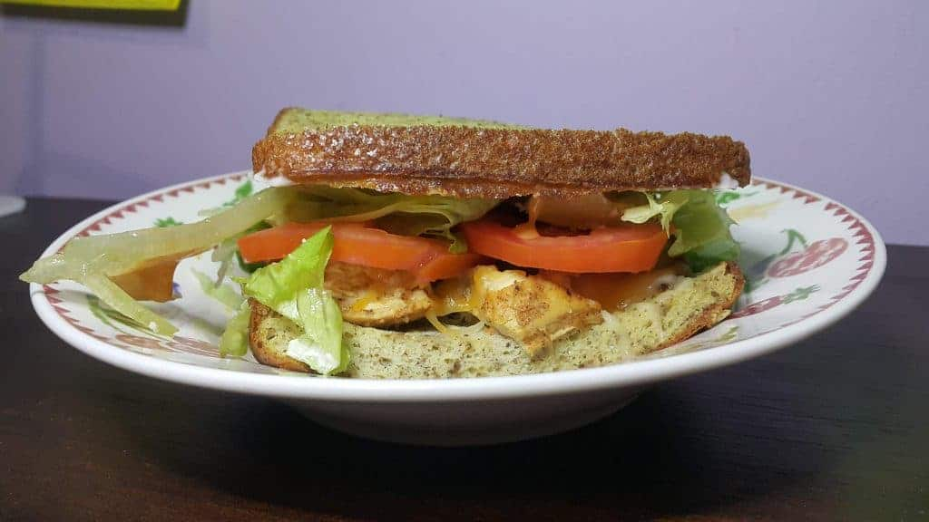 Chicken sandwich made with keto bread. See more of my keto first week weight loss results