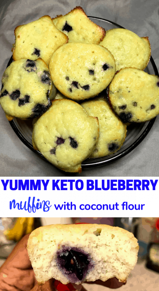Amazing keto blueberry muffins with coconut flour! Try these delicious coconut flour blueberry muffins to stay in ketosis while satisfying your sweet-tooth. Keto desserts, vegetarian blueberry muffins, paleo blueberry muffin, keto muffins, keto desserts, keto breakfast ideas #ketodiet #ketogenic #ketomuffins #ketorecipe