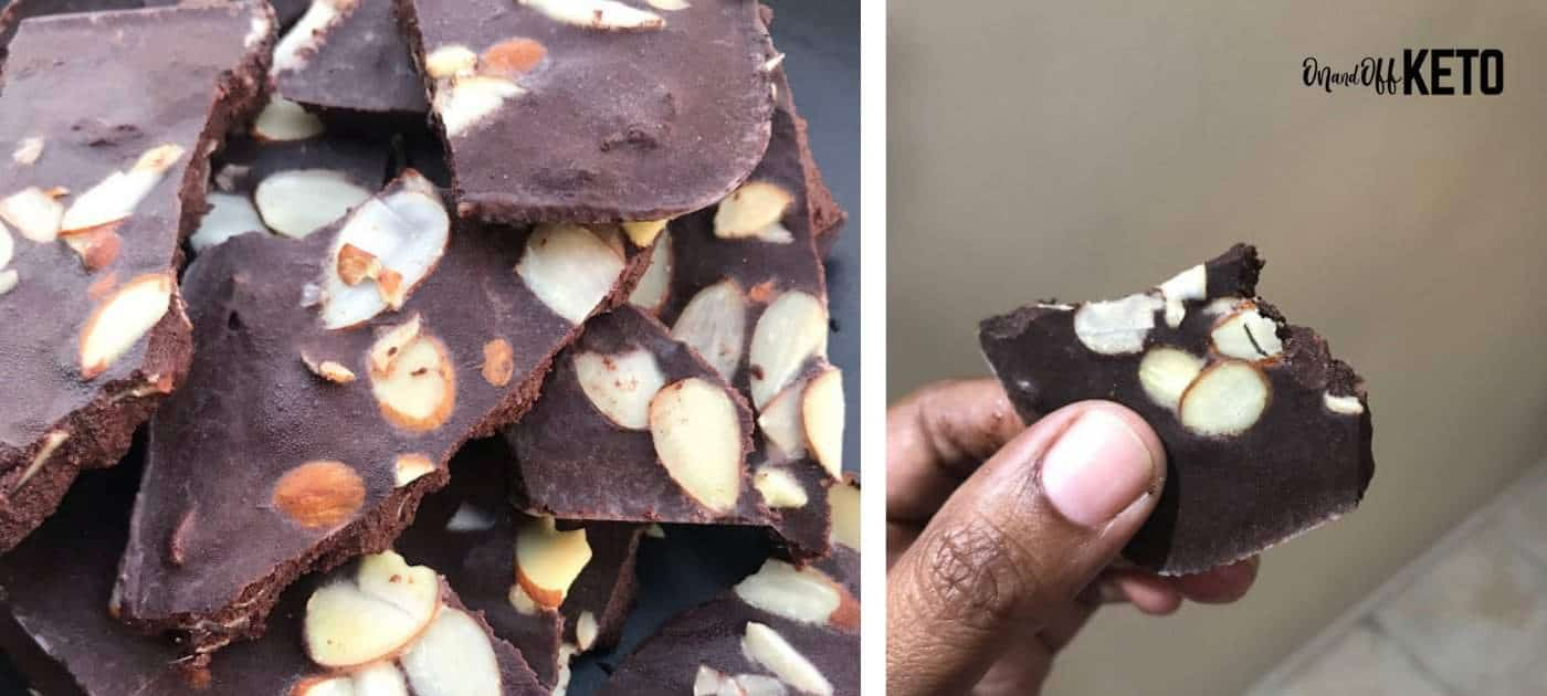 Keto Dark Chocolate Fat Bombs with Almonds