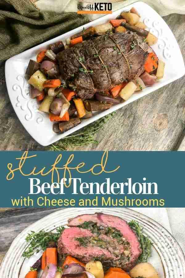 Stuffed Beef Tenderloin with Parmesan Cheese and Portobello Mushrooms