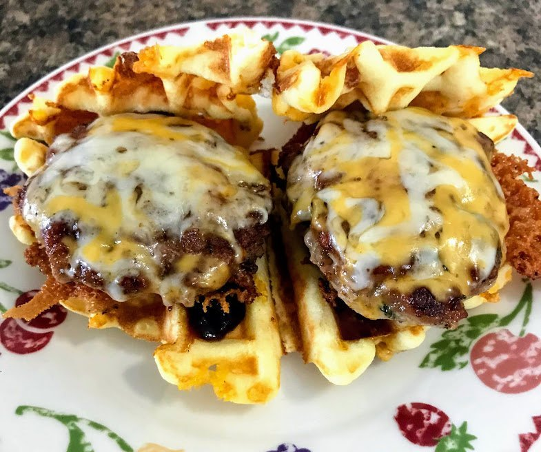 KETO BBQ Pork Sliders on Almond Flour Chaffles