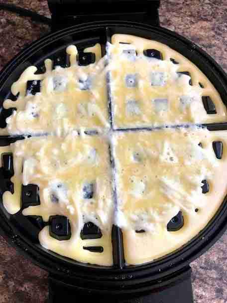 Basic Chaffle Recipe Ingredients on waffle iron