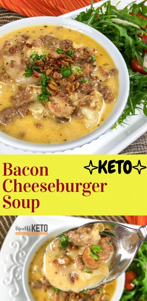 Keto Bacon Cheeseburger Soup Pin Image