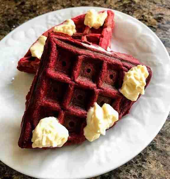 Keto Red Velvet Waffle Whoopie Pie