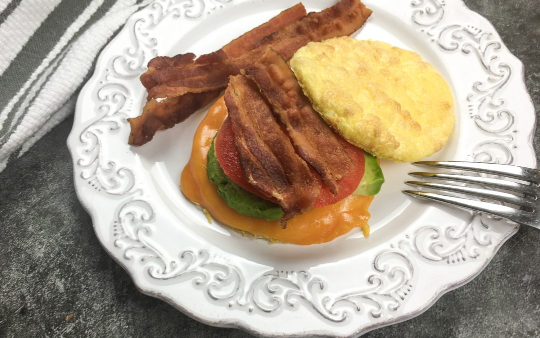 Avocado Cheddar Keto Breakfast Sandwich with No-Carb Cloud Bread