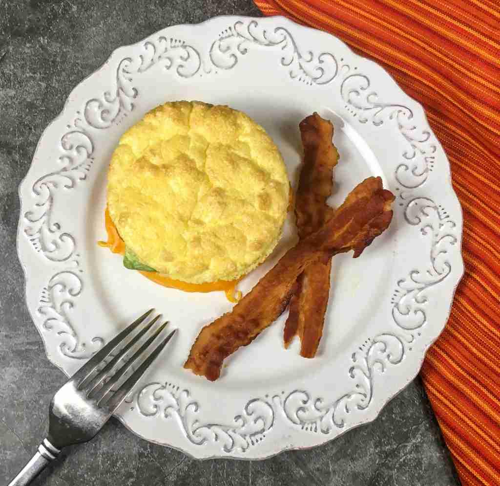 Keto Avocado Cheddar Breakfast Sandwich with No-Carb Cloud Bread
