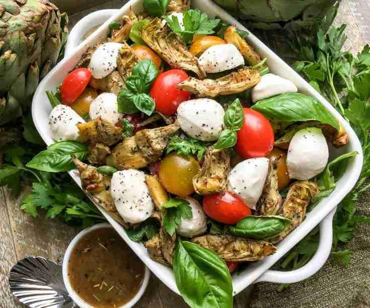 Roasted Artichoke and Mozzarella Salad