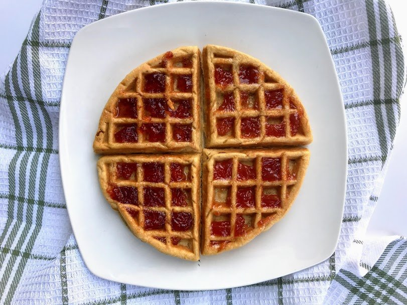Peanut Butter Chaffle with Strawberry Jelly