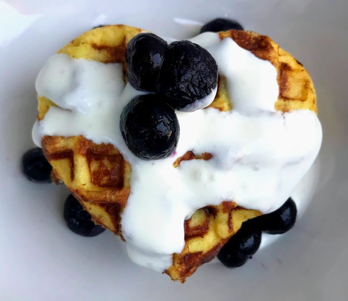 Lupin Flour Waffles with Cream Cheese Topping