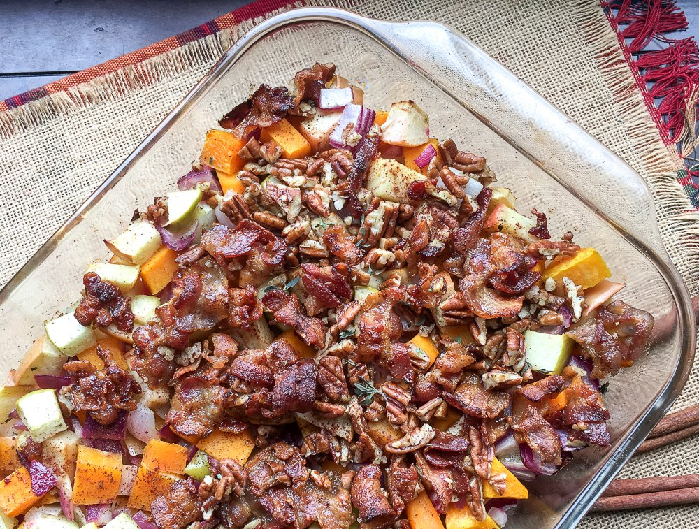 Savory Apple Butternut Squash Casserole with Sweet Bacon-Pecan Topping