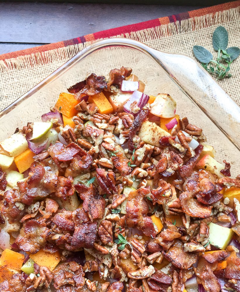Apple Butternut Squash Casserole with Sweet Bacon-Pecan Topping
