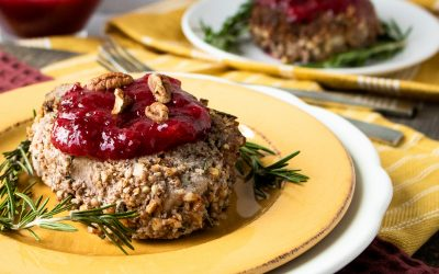 Pecan Crusted Pork Chops with Plum Sauce