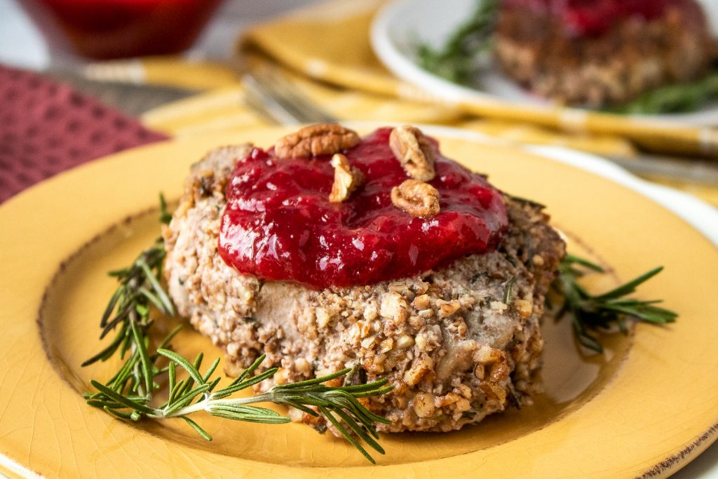 Pecan Crusted Pork Chops with Plum Sauce