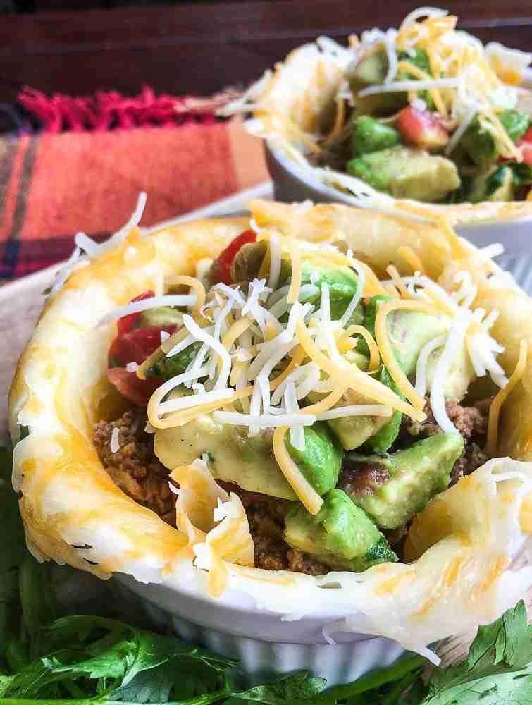 Easy Keto Taco Cups with Avocado Salsa