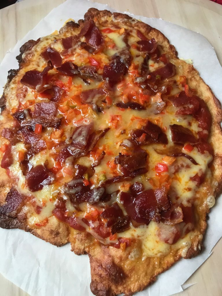 Keto Bacon and Red Pepper Pizza