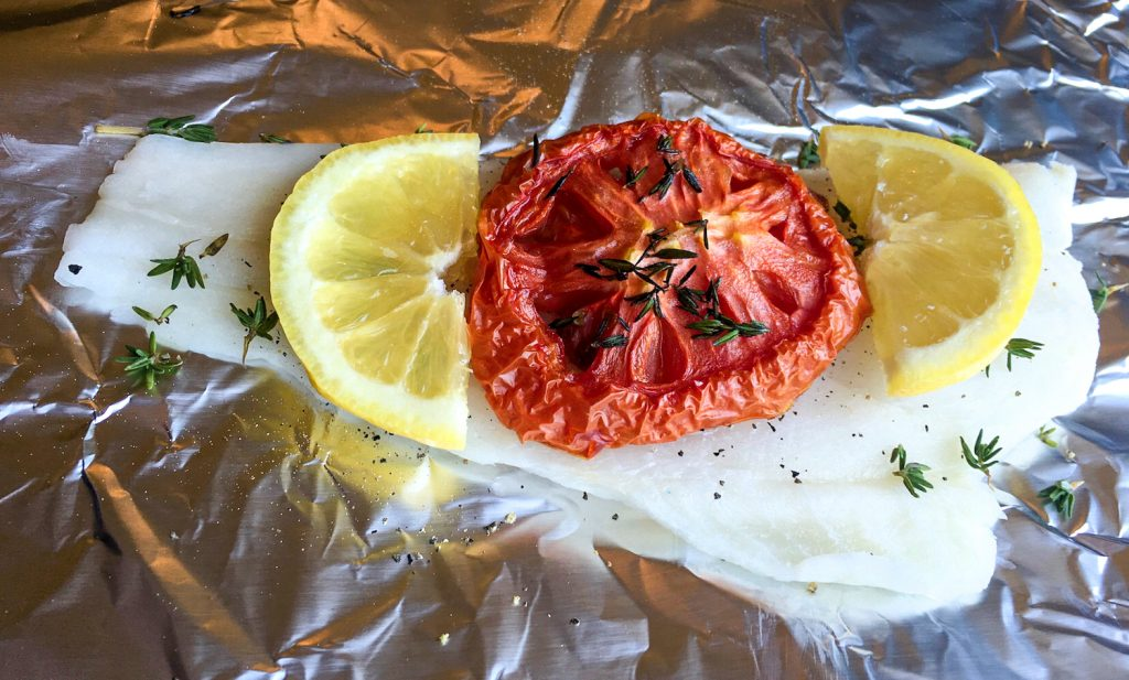 Foil Pack White Fish with Roasted Tomatoes