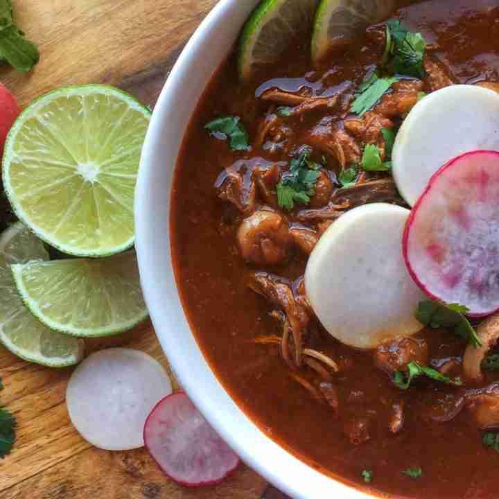 Pozole Rojo de Pollo (Red Pozole with Chicken)